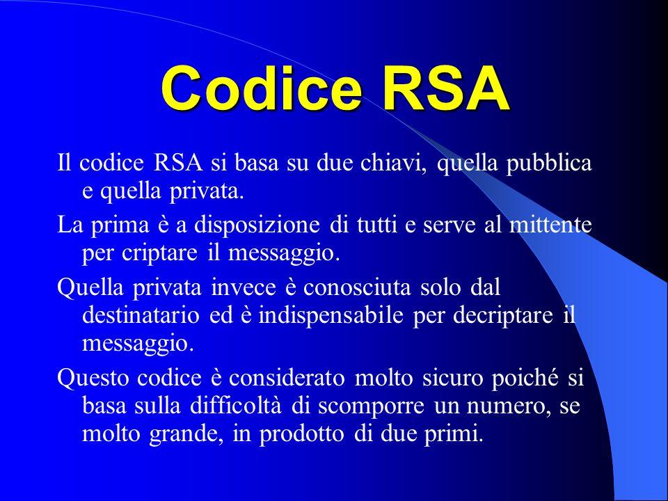 Codice RSA Il codice RSA si basa su due chiavi, quella pubblica e quella privata. La prima è a disposizione di tutti e serve al mittente per criptare