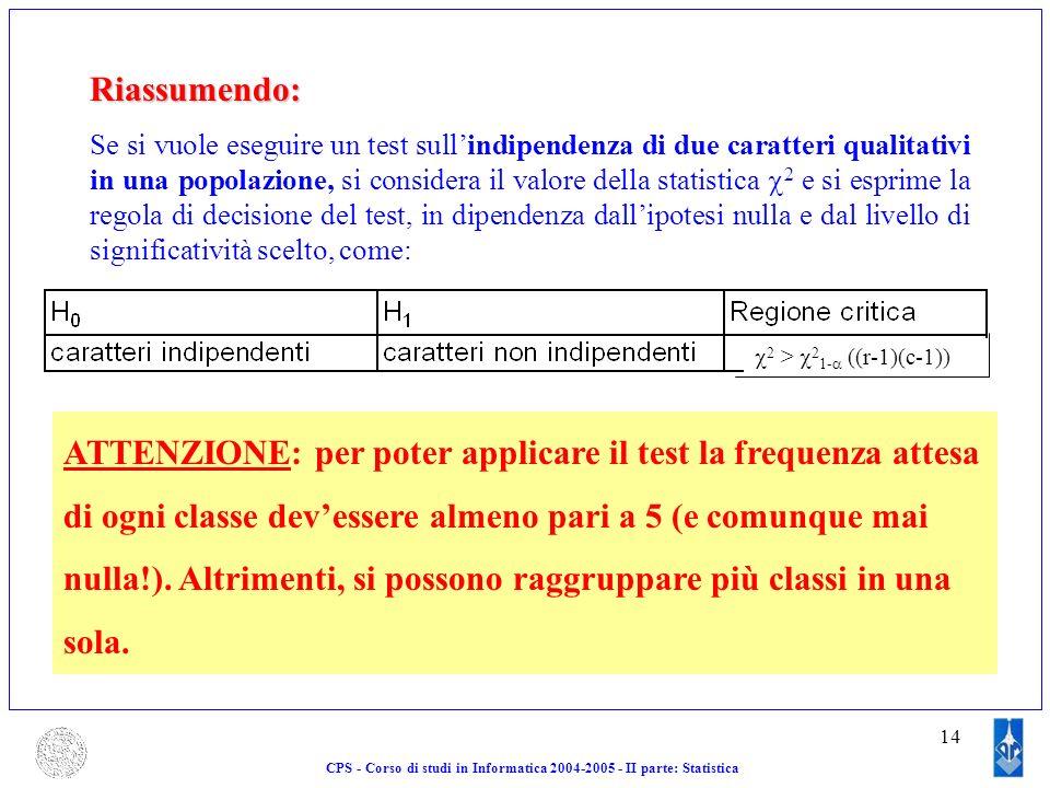 14 CPS - Corso di studi in Informatica 2004-2005 - II parte: StatisticaRiassumendo: Se si vuole eseguire un test sullindipendenza di due caratteri qua