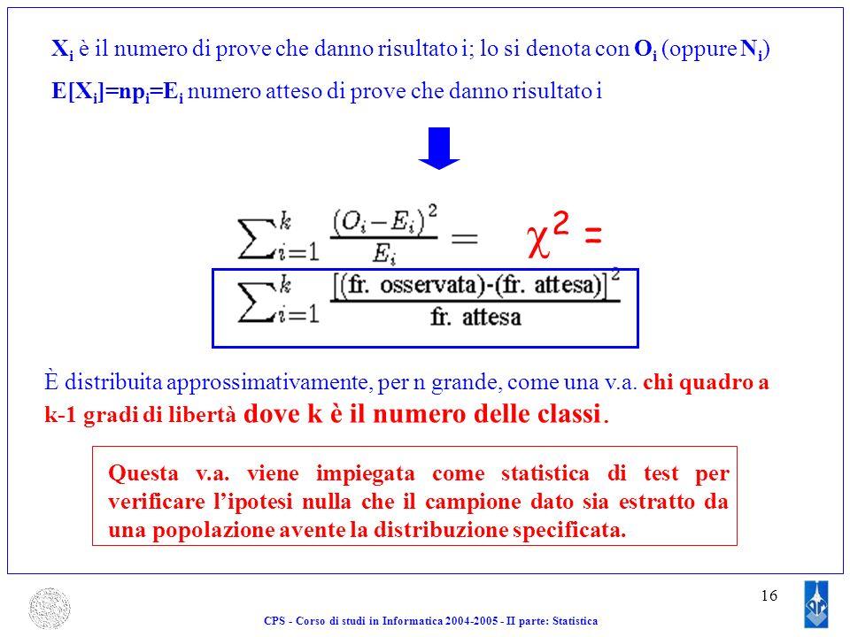16 X i è il numero di prove che danno risultato i; lo si denota con O i (oppure N i ) E[X i ]=np i =E i numero atteso di prove che danno risultato i È
