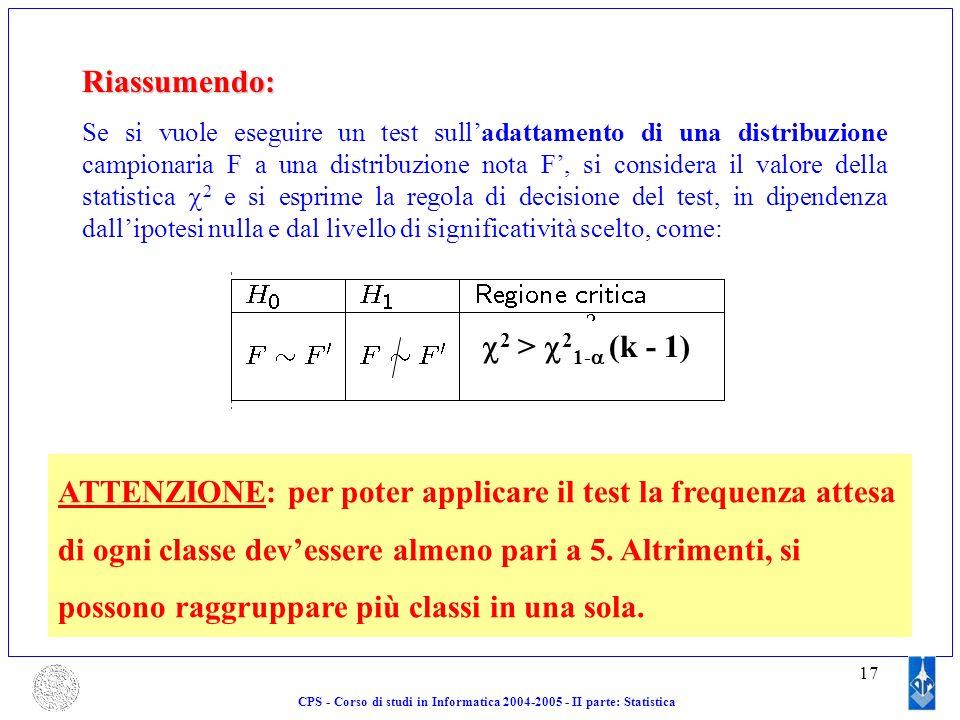 17Riassumendo: Se si vuole eseguire un test sulladattamento di una distribuzione campionaria F a una distribuzione nota F, si considera il valore dell