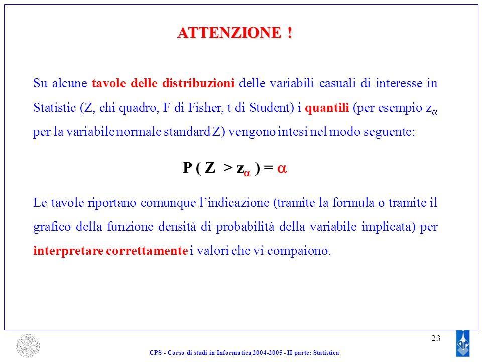 23 ATTENZIONE ! Su alcune tavole delle distribuzioni delle variabili casuali di interesse in Statistic (Z, chi quadro, F di Fisher, t di Student) i qu