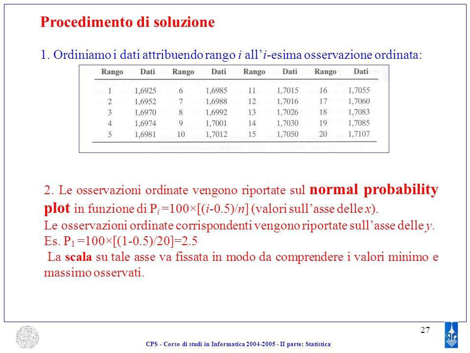 27 CPS - Corso di studi in Informatica 2004-2005 - II parte: Statistica Procedimento di soluzione 1. Ordiniamo i dati attribuendo rango i alli-esima o