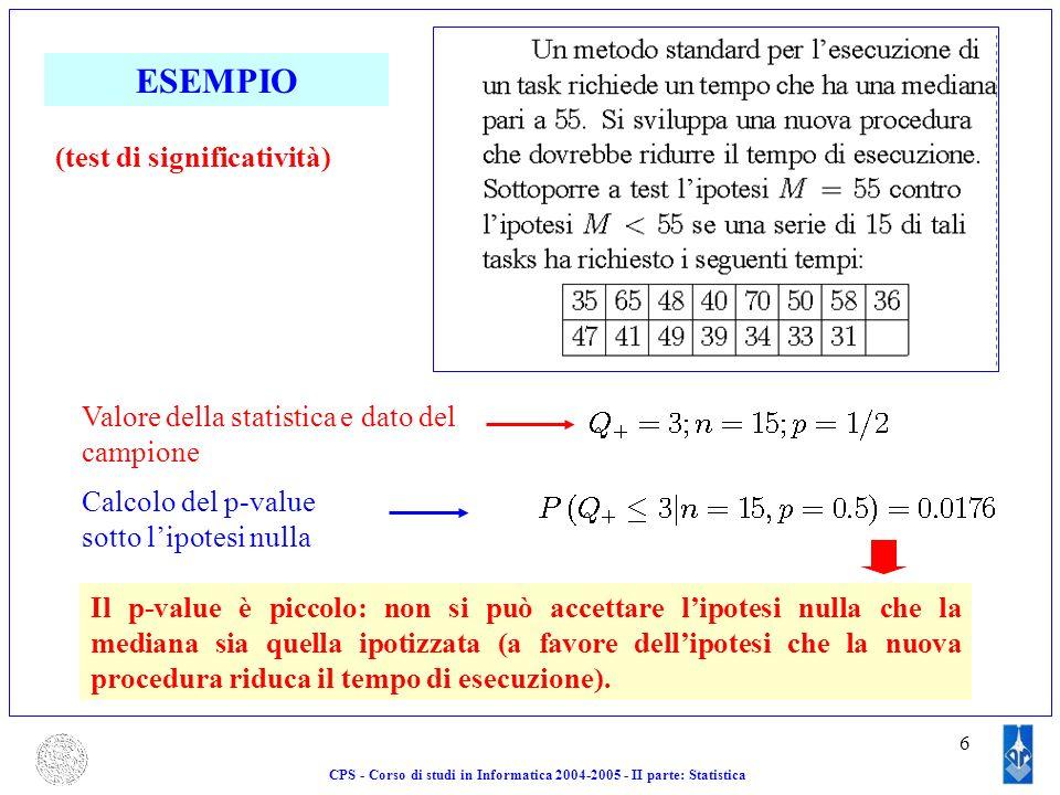 6 ESEMPIO Valore della statistica e dato del campione Calcolo del p-value sotto lipotesi nulla Il p-value è piccolo: non si può accettare lipotesi nul