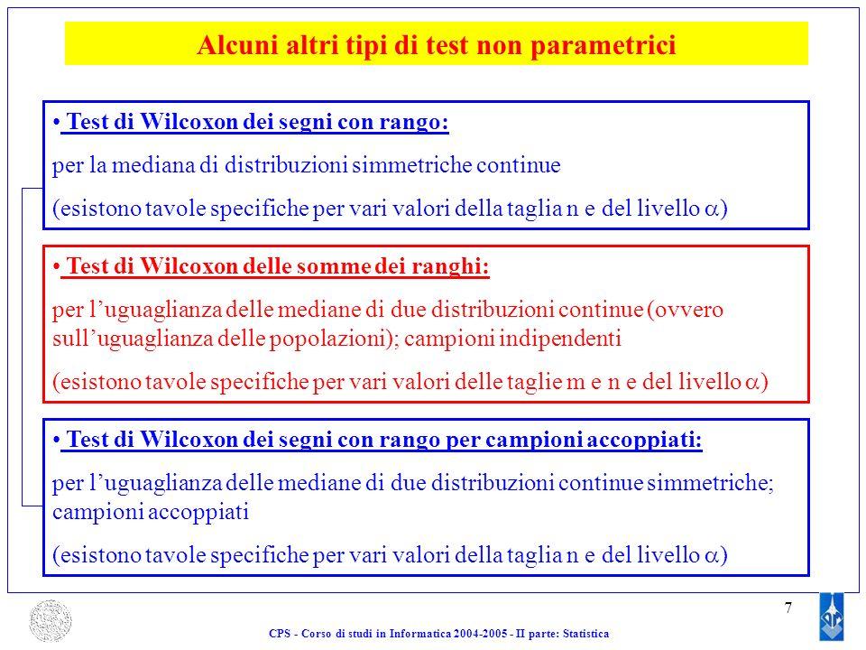 7 Alcuni altri tipi di test non parametrici Test di Wilcoxon dei segni con rango: per la mediana di distribuzioni simmetriche continue (esistono tavol