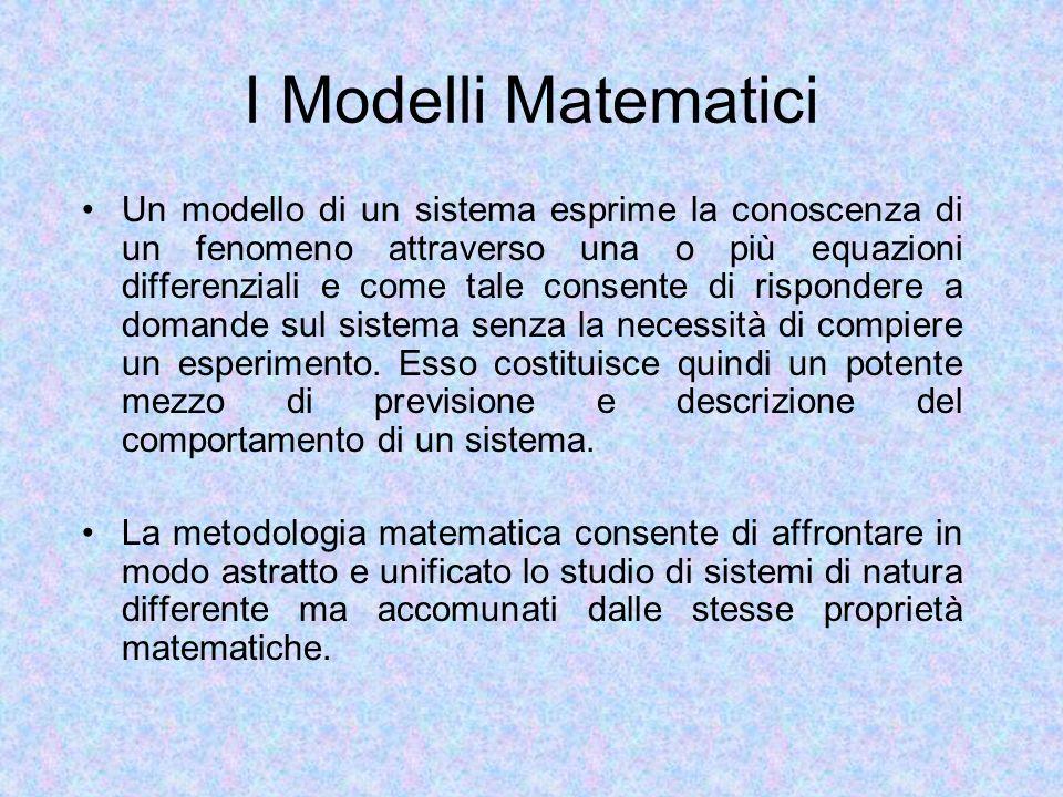 I Modelli Matematici Un modello di un sistema esprime la conoscenza di un fenomeno attraverso una o più equazioni differenziali e come tale consente di rispondere a domande sul sistema senza la necessità di compiere un esperimento.