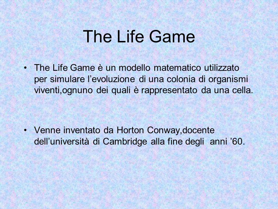 The Life Game The Life Game è un modello matematico utilizzato per simulare levoluzione di una colonia di organismi viventi,ognuno dei quali è rappresentato da una cella.
