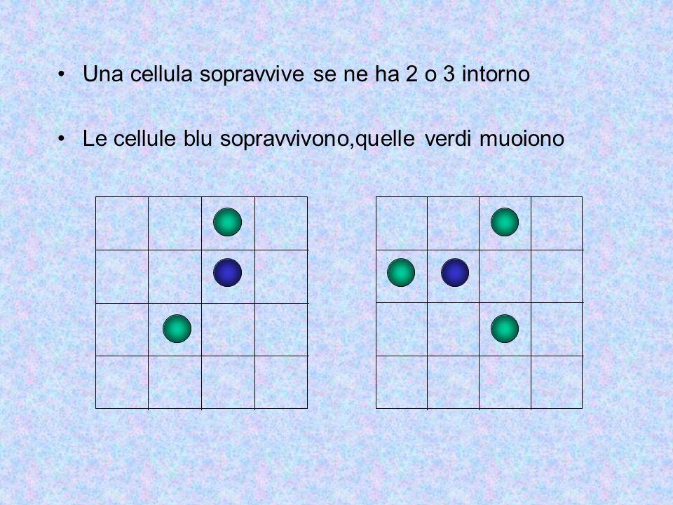 Una cellula sopravvive se ne ha 2 o 3 intorno Le cellule blu sopravvivono,quelle verdi muoiono