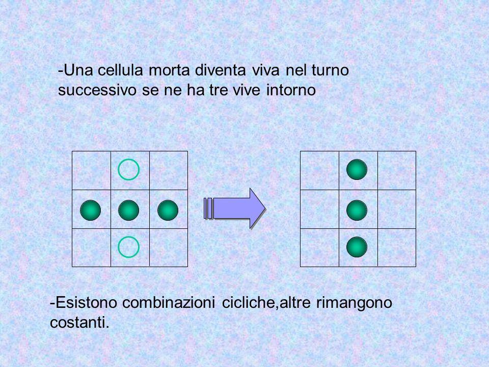 -Una cellula morta diventa viva nel turno successivo se ne ha tre vive intorno -Esistono combinazioni cicliche,altre rimangono costanti.