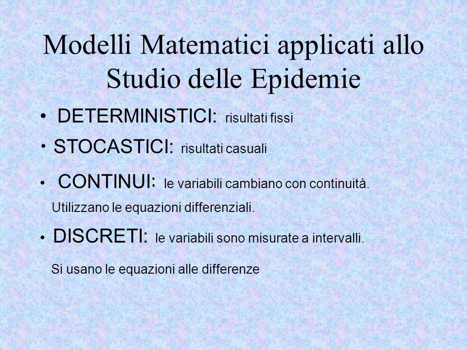 Modelli Matematici applicati allo Studio delle Epidemie DETERMINISTICI: risultati fissi STOCASTICI: risultati casuali CONTINUI : le variabili cambiano con continuità.