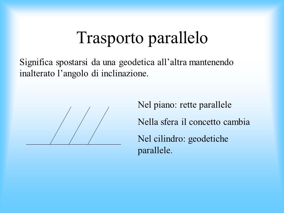 Trasporto parallelo Significa spostarsi da una geodetica allaltra mantenendo inalterato langolo di inclinazione. Nel piano: rette parallele Nella sfer