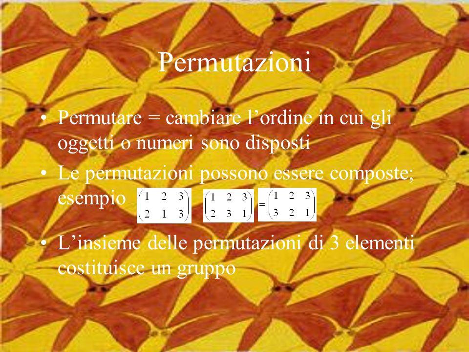 Permutazioni Permutare = cambiare lordine in cui gli oggetti o numeri sono disposti Le permutazioni possono essere composte; esempio Linsieme delle pe