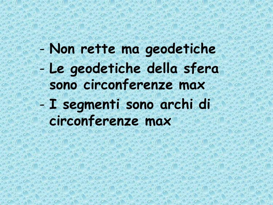 -Non rette ma geodetiche -Le geodetiche della sfera sono circonferenze max -I segmenti sono archi di circonferenze max