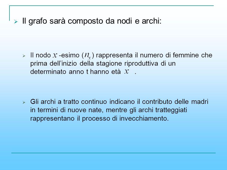Il grafo sarà composto da nodi e archi: Il nodo -esimo ( ) rappresenta il numero di femmine che prima dellinizio della stagione riproduttiva di un det