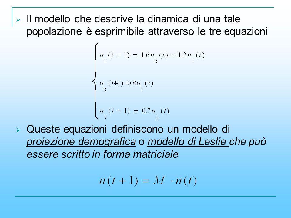 Il modello che descrive la dinamica di una tale popolazione è esprimibile attraverso le tre equazioni Queste equazioni definiscono un modello di proie