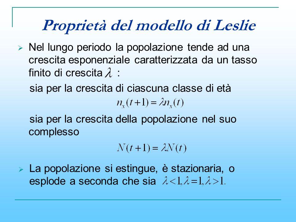 Proprietà del modello di Leslie Nel lungo periodo la popolazione tende ad una crescita esponenziale caratterizzata da un tasso finito di crescita : si
