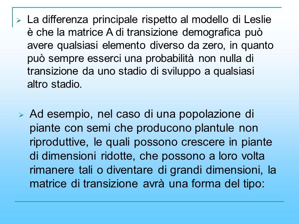 La differenza principale rispetto al modello di Leslie è che la matrice A di transizione demografica può avere qualsiasi elemento diverso da zero, in