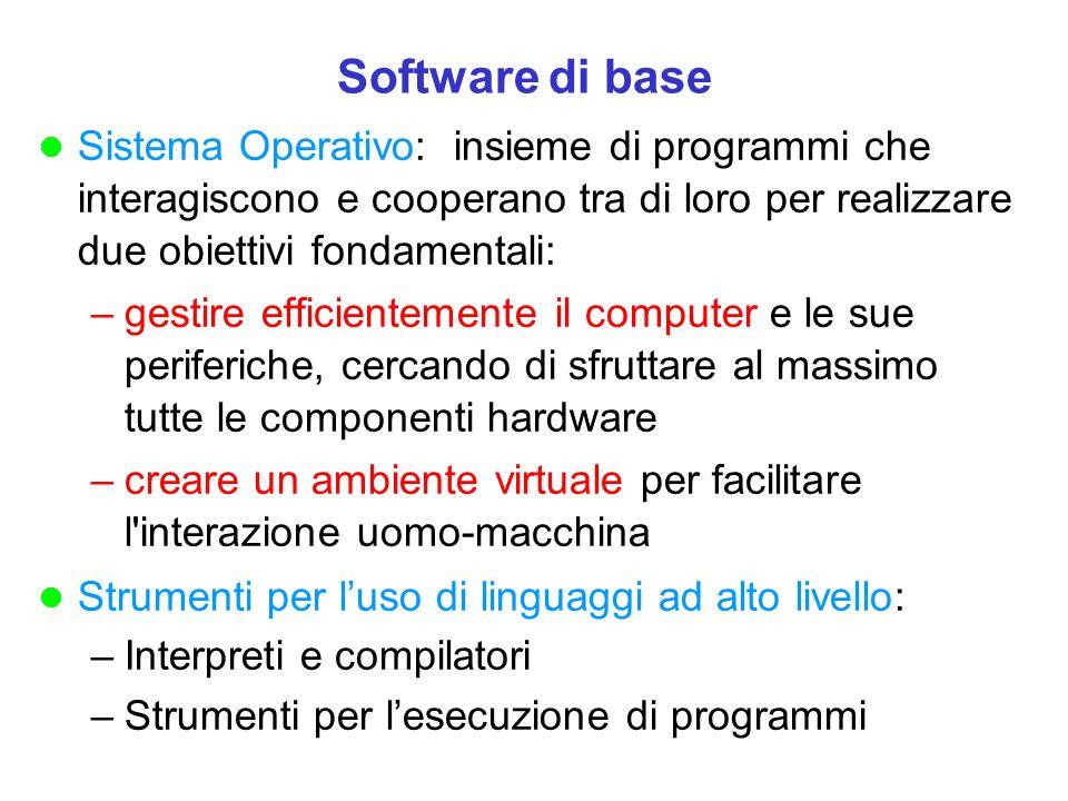 Software di base Sistema Operativo: insieme di programmi che interagiscono e cooperano tra di loro per realizzare due obiettivi fondamentali: –gestire