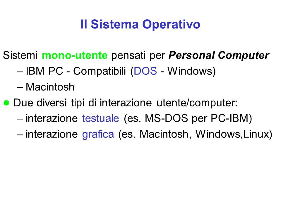 Il Sistema Operativo Sistemi mono-utente pensati per Personal Computer –IBM PC - Compatibili (DOS - Windows) –Macintosh Due diversi tipi di interazion