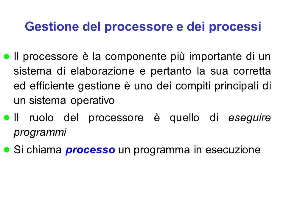 Gestione del processore e dei processi Il processore è la componente più importante di un sistema di elaborazione e pertanto la sua corretta ed efficiente gestione è uno dei compiti principali di un sistema operativo Il ruolo del processore è quello di eseguire programmi Si chiama processo un programma in esecuzione