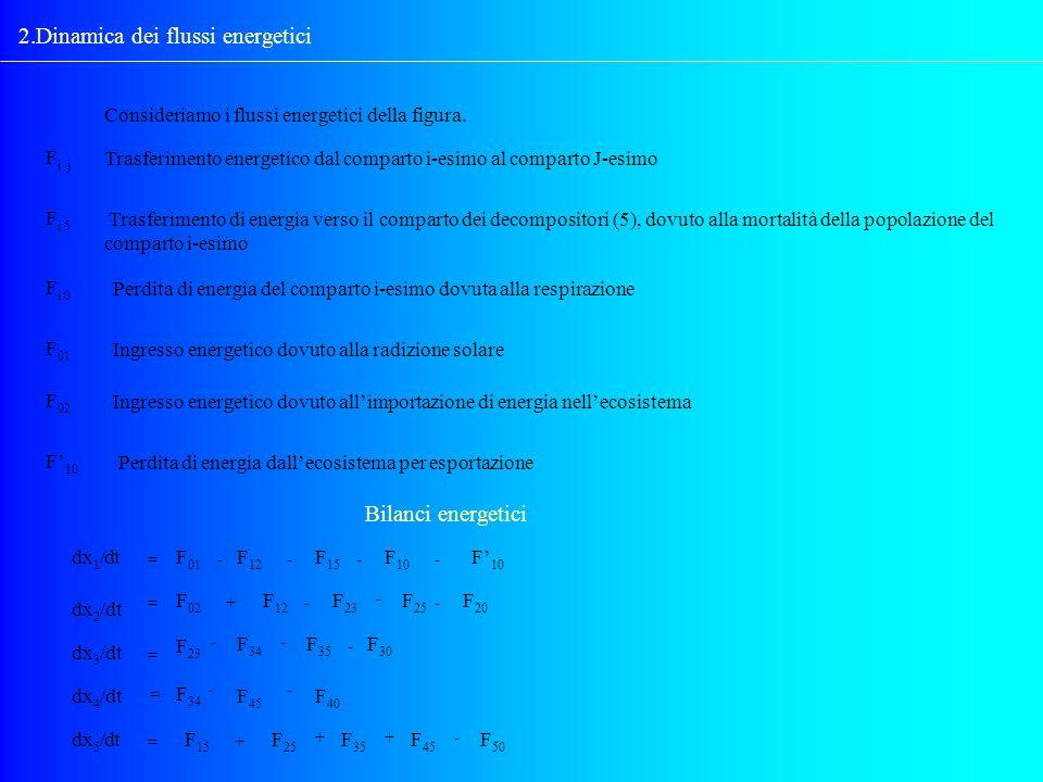 2.Dinamica dei flussi energetici Consideriamo i flussi energetici della figura. F i j Trasferimento energetico dal comparto i-esimo al comparto J-esim