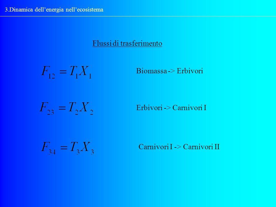 3.Dinamica dellenergia nellecosistema Flussi di trasferimento Biomassa -> Erbivori Erbivori -> Carnivori I Carnivori I -> Carnivori II