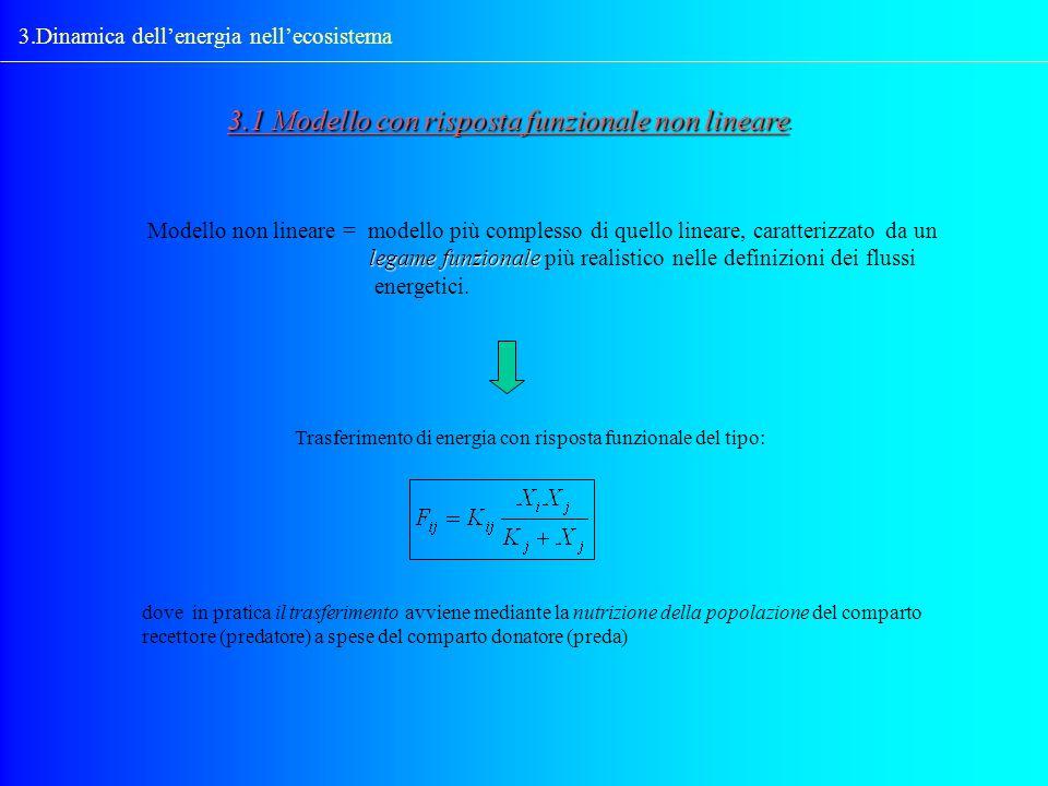 3.Dinamica dellenergia nellecosistema 3.1 Modello con risposta funzionale non lineare 3.1 Modello con risposta funzionale non lineare. Modello non lin