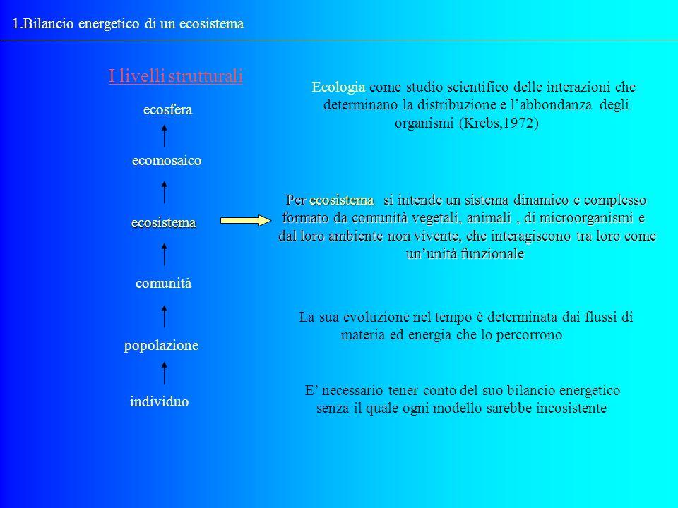 1.Bilancio energetico di un ecosistema I livelli strutturali ecosfera ecomosaico ecosistema comunità popolazione individuo Per ecosistema si intende u