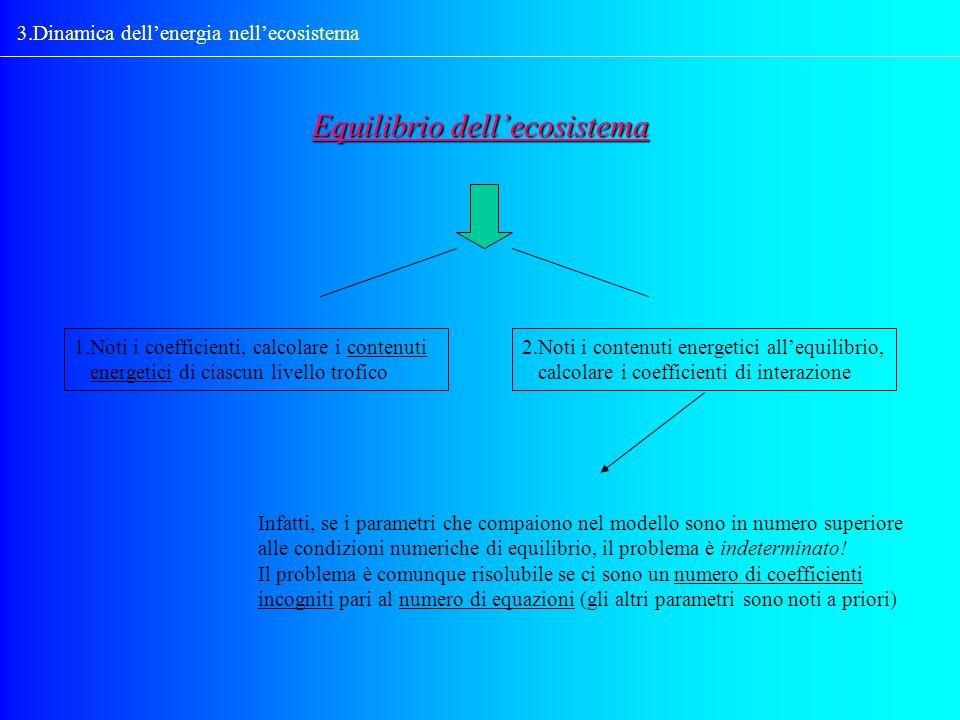 3.Dinamica dellenergia nellecosistema 1.Noti i coefficienti, calcolare i contenuti energetici di ciascun livello trofico Equilibrio dellecosistema 2.N