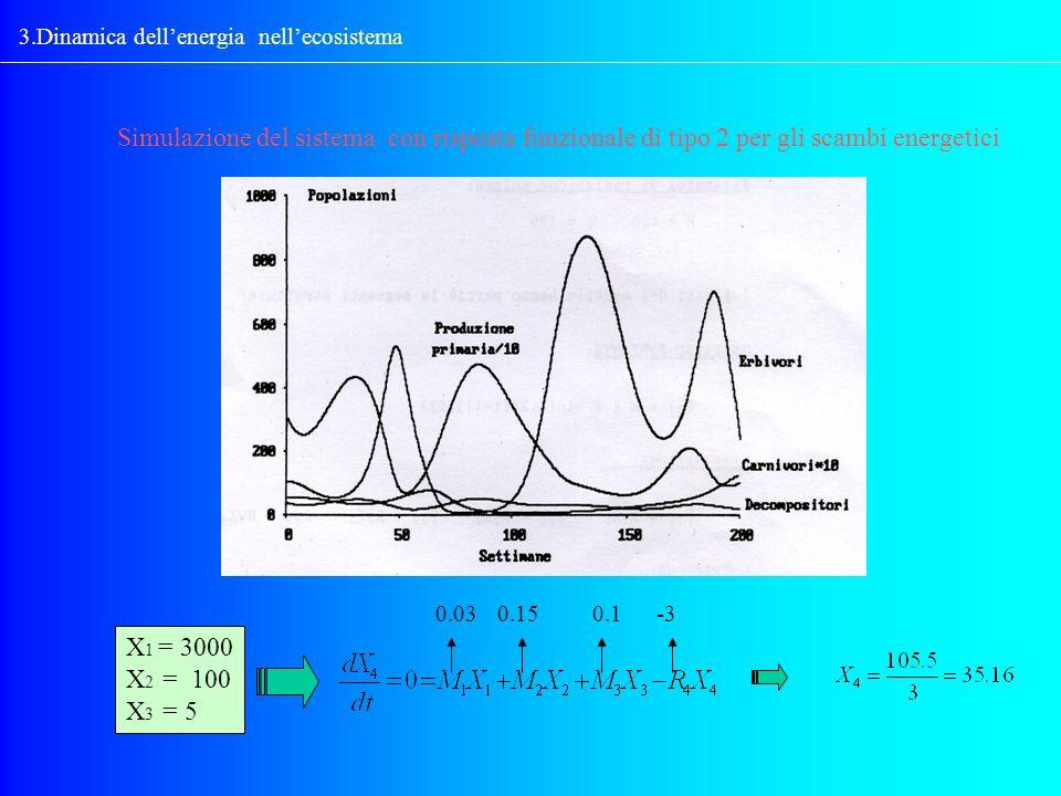 Simulazione del sistema con risposta funzionale di tipo 2 per gli scambi energetici 3.Dinamica dellenergia nellecosistema X 1 = 3000 X 2 = 100 X 3 = 5