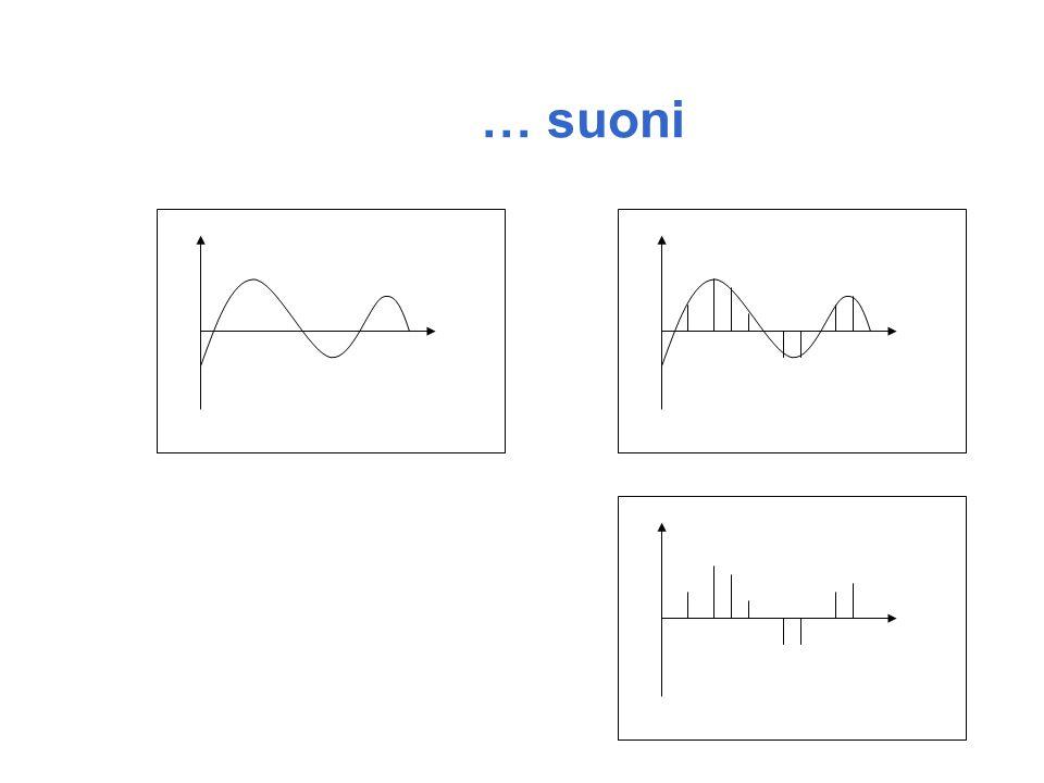 l Anche i suoni possono essere rappresentati in forma digitale l Dal punto di vista fisico un suono è un alterazione della pressione dell aria che, quando rilevata, ad esempio dall orecchio umano, viene trasformata in un stimolo auditivo al cervello l Lalterazione della pressione deve avere le caratteristiche di una vibrazione l La durata, l intensità e la frequenza della vibrazione sono le quantità fisiche che rendono un suono diverso da ogni altro l Mediante un microfono le variazioni della pressione dellaria (vibrazioni) vengono trasformate in un segnale elettrico La codifica dei suoni