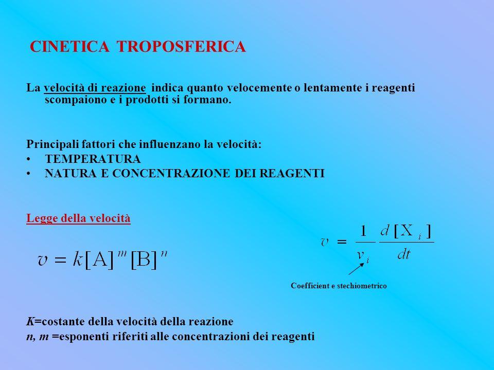 CINETICA TROPOSFERICA La velocità di reazione indica quanto velocemente o lentamente i reagenti scompaiono e i prodotti si formano. Principali fattori