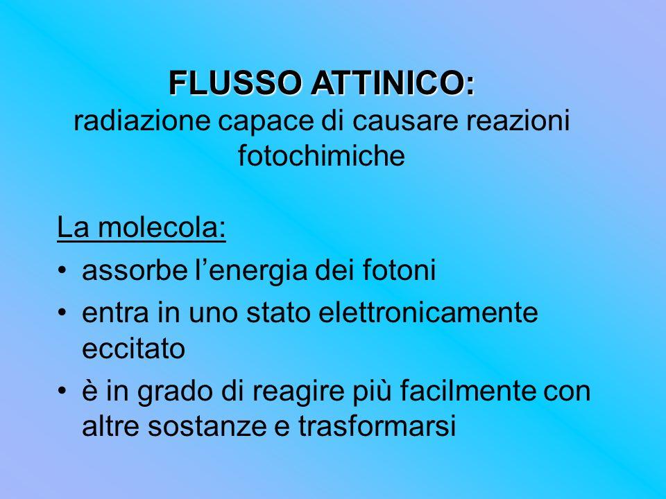 FLUSSO ATTINICO: FLUSSO ATTINICO: radiazione capace di causare reazioni fotochimiche La molecola: assorbe lenergia dei fotoni entra in uno stato elett