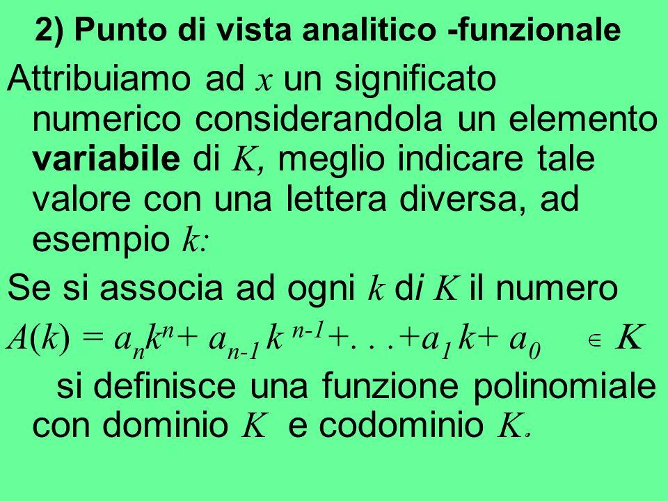 2) Punto di vista analitico -funzionale Attribuiamo ad x un significato numerico considerandola un elemento variabile di K, meglio indicare tale valor