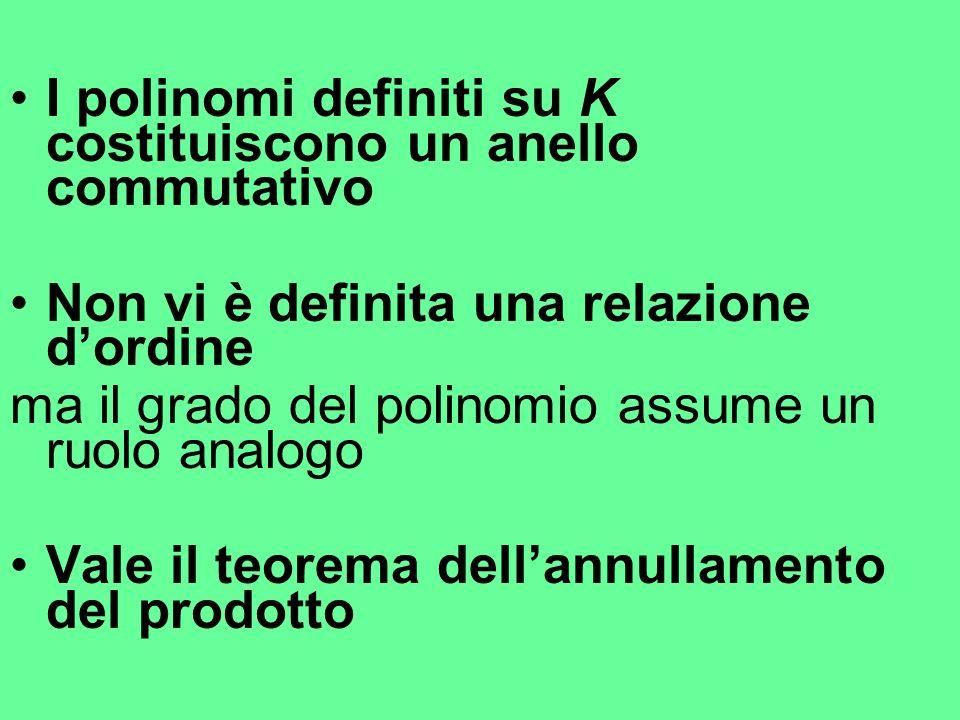 I polinomi definiti su K costituiscono un anello commutativo Non vi è definita una relazione dordine ma il grado del polinomio assume un ruolo analogo