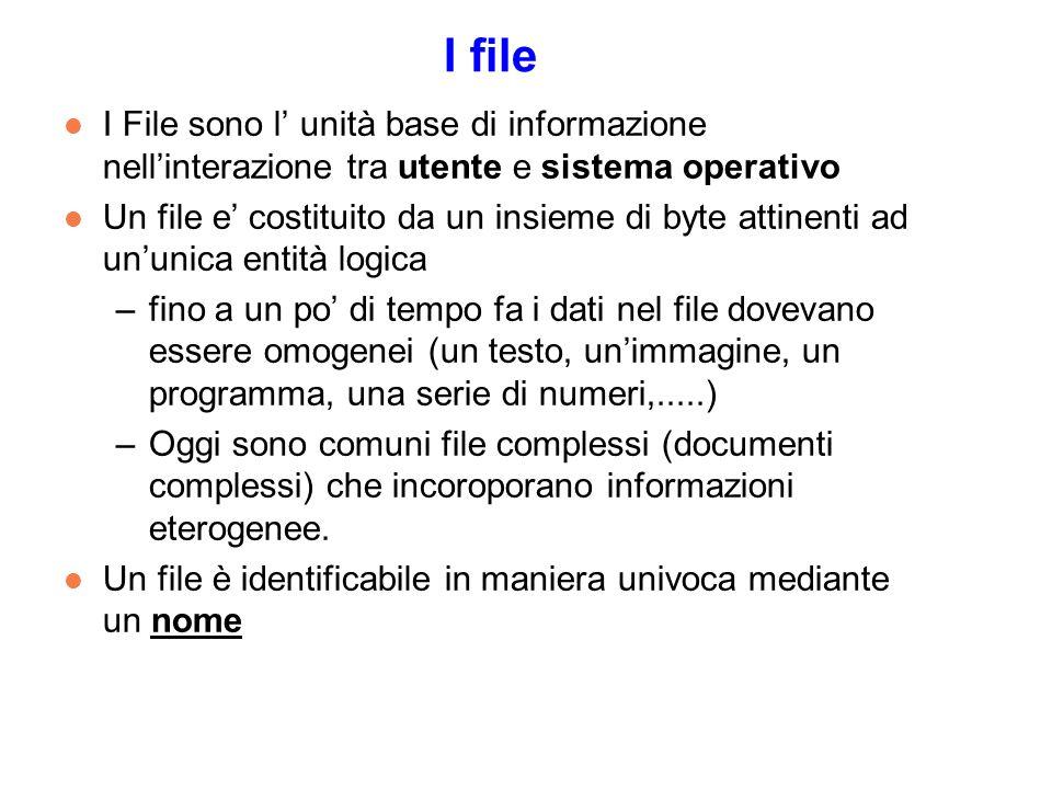 I file l I File sono l unità base di informazione nellinterazione tra utente e sistema operativo l Un file e costituito da un insieme di byte attinenti ad ununica entità logica –fino a un po di tempo fa i dati nel file dovevano essere omogenei (un testo, unimmagine, un programma, una serie di numeri,.....) –Oggi sono comuni file complessi (documenti complessi) che incoroporano informazioni eterogenee.