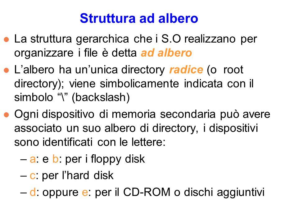 Struttura ad albero l La struttura gerarchica che i S.O realizzano per organizzare i file è detta ad albero l Lalbero ha ununica directory radice (o root directory); viene simbolicamente indicata con il simbolo \ (backslash) l Ogni dispositivo di memoria secondaria può avere associato un suo albero di directory, i dispositivi sono identificati con le lettere: –a: e b: per i floppy disk –c: per lhard disk –d: oppure e: per il CD-ROM o dischi aggiuntivi