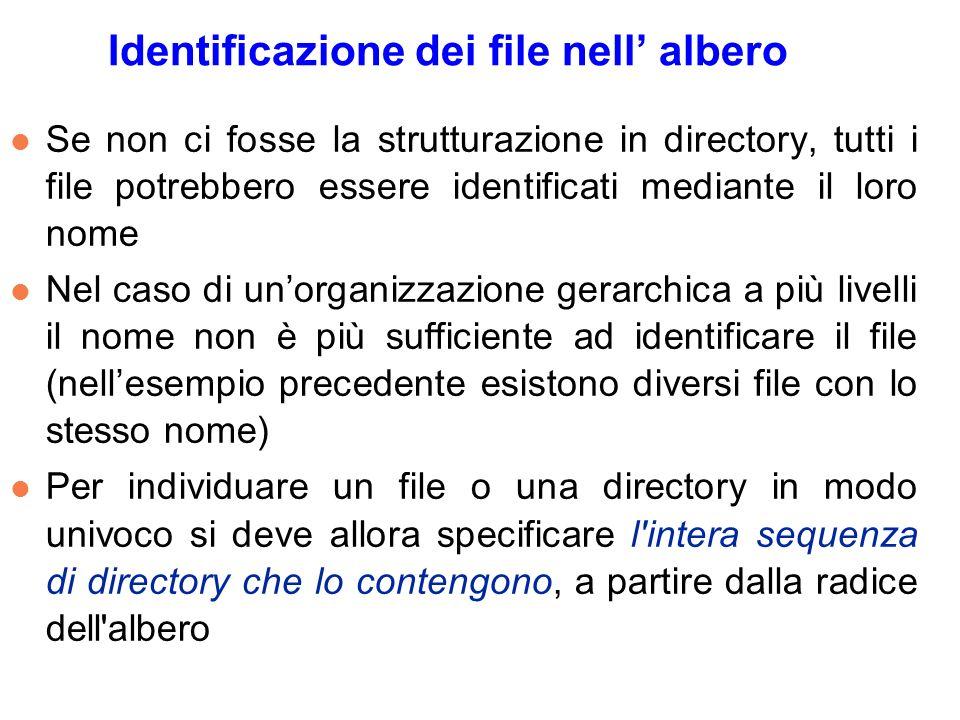 Identificazione dei file nell albero l Se non ci fosse la strutturazione in directory, tutti i file potrebbero essere identificati mediante il loro no