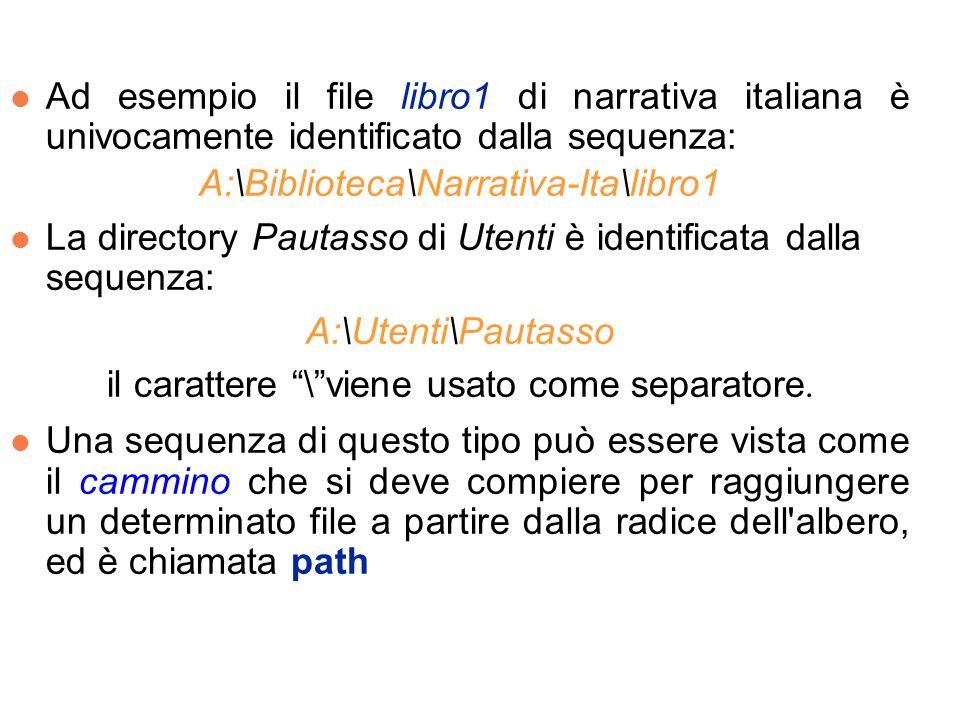 l Ad esempio il file libro1 di narrativa italiana è univocamente identificato dalla sequenza: A:\Biblioteca\Narrativa-Ita\libro1 l La directory Pautasso di Utenti è identificata dalla sequenza: A:\Utenti\Pautasso il carattere \viene usato come separatore.