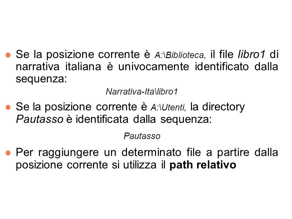 l Se la posizione corrente è A:\Biblioteca, il file libro1 di narrativa italiana è univocamente identificato dalla sequenza: Narrativa-Ita\libro1 l Se la posizione corrente è A:\Utenti, la directory Pautasso è identificata dalla sequenza: Pautasso l Per raggiungere un determinato file a partire dalla posizione corrente si utilizza il path relativo