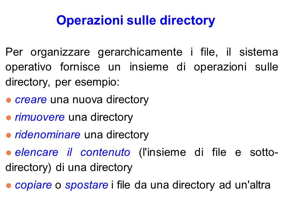 Operazioni sulle directory Per organizzare gerarchicamente i file, il sistema operativo fornisce un insieme di operazioni sulle directory, per esempio: l creare una nuova directory l rimuovere una directory l ridenominare una directory l elencare il contenuto (l insieme di file e sotto- directory) di una directory l copiare o spostare i file da una directory ad un altra