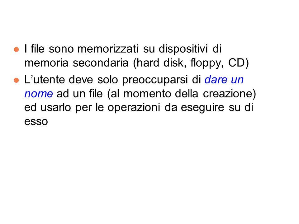 l I file sono memorizzati su dispositivi di memoria secondaria (hard disk, floppy, CD) l Lutente deve solo preoccuparsi di dare un nome ad un file (al