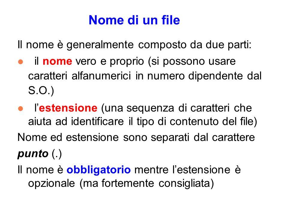 Nome di un file Il nome è generalmente composto da due parti: l il nome vero e proprio (si possono usare caratteri alfanumerici in numero dipendente dal S.O.) l lestensione (una sequenza di caratteri che aiuta ad identificare il tipo di contenuto del file) Nome ed estensione sono separati dal carattere punto (.) Il nome è obbligatorio mentre lestensione è opzionale (ma fortemente consigliata)