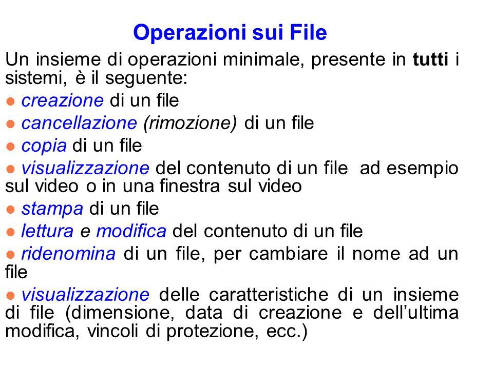 Operazioni sui File Un insieme di operazioni minimale, presente in tutti i sistemi, è il seguente: l creazione di un file l cancellazione (rimozione) di un file l copia di un file l visualizzazione del contenuto di un file ad esempio sul video o in una finestra sul video l stampa di un file l lettura e modifica del contenuto di un file l ridenomina di un file, per cambiare il nome ad un file l visualizzazione delle caratteristiche di un insieme di file (dimensione, data di creazione e dellultima modifica, vincoli di protezione, ecc.)