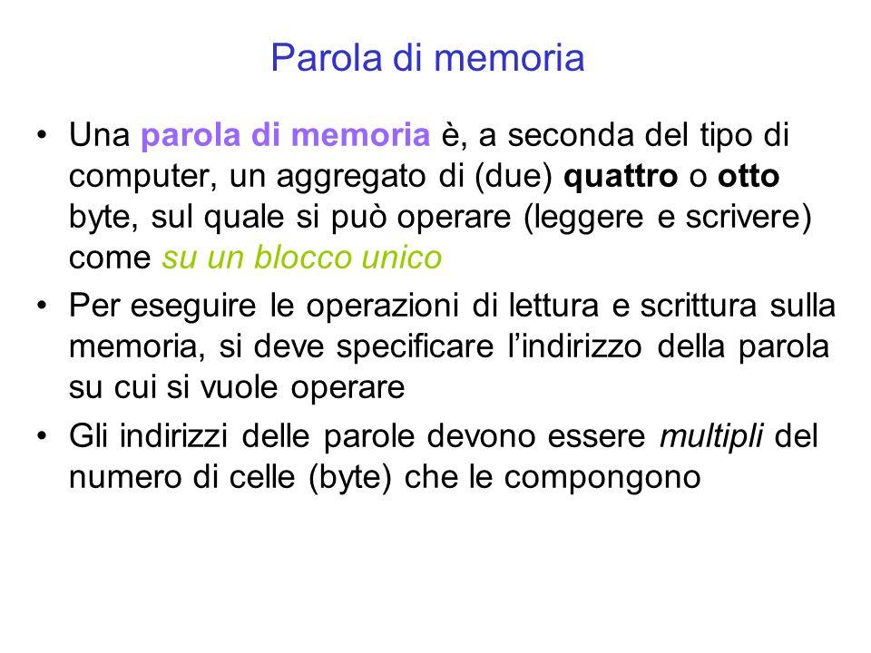 Una parola di memoria è, a seconda del tipo di computer, un aggregato di (due) quattro o otto byte, sul quale si può operare (leggere e scrivere) come su un blocco unico Per eseguire le operazioni di lettura e scrittura sulla memoria, si deve specificare lindirizzo della parola su cui si vuole operare Gli indirizzi delle parole devono essere multipli del numero di celle (byte) che le compongono Parola di memoria