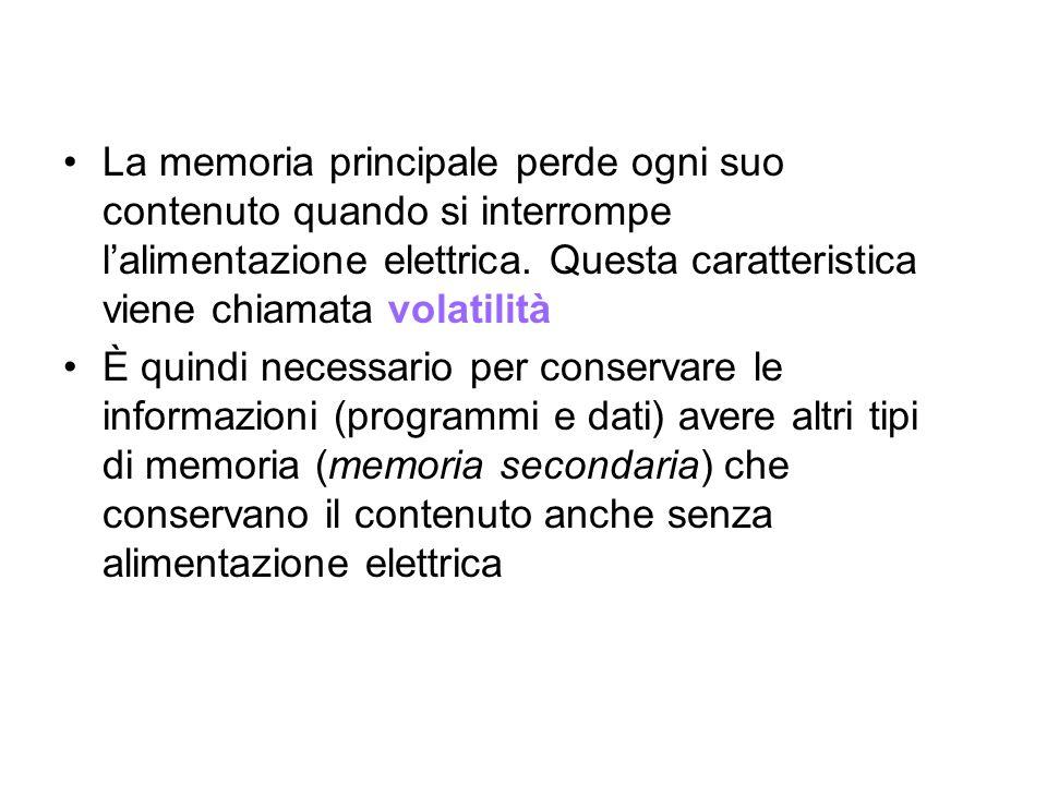 La memoria principale perde ogni suo contenuto quando si interrompe lalimentazione elettrica.