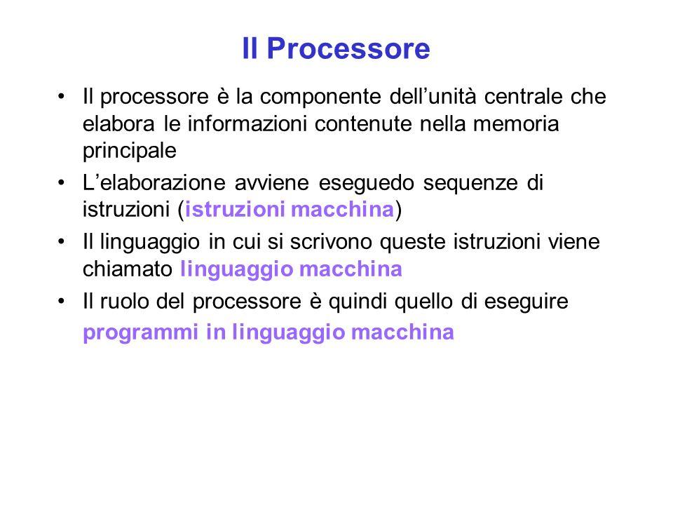 Il Processore Il processore è la componente dellunità centrale che elabora le informazioni contenute nella memoria principale Lelaborazione avviene eseguedo sequenze di istruzioni (istruzioni macchina) Il linguaggio in cui si scrivono queste istruzioni viene chiamato linguaggio macchina Il ruolo del processore è quindi quello di eseguire programmi in linguaggio macchina