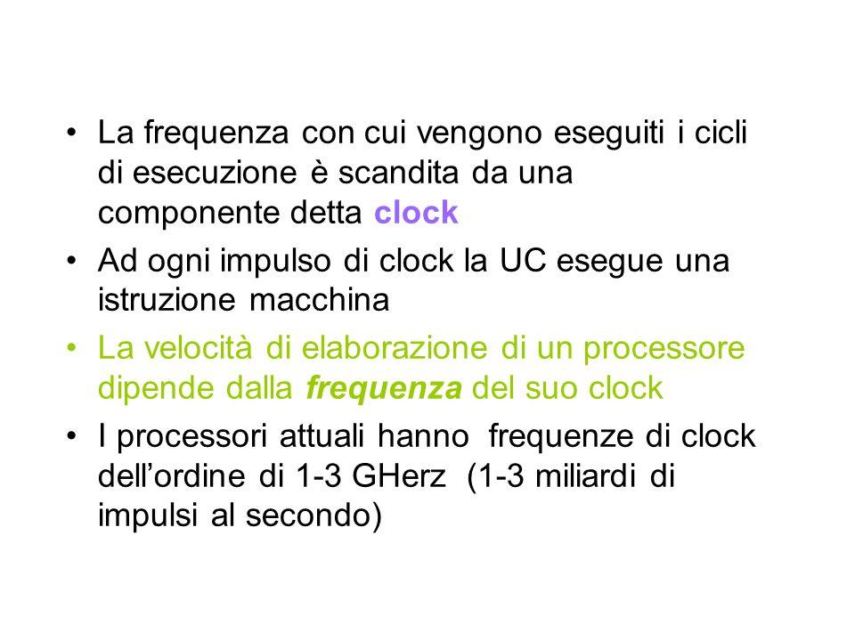 La frequenza con cui vengono eseguiti i cicli di esecuzione è scandita da una componente detta clock Ad ogni impulso di clock la UC esegue una istruzione macchina La velocità di elaborazione di un processore dipende dalla frequenza del suo clock I processori attuali hanno frequenze di clock dellordine di 1-3 GHerz (1-3 miliardi di impulsi al secondo)