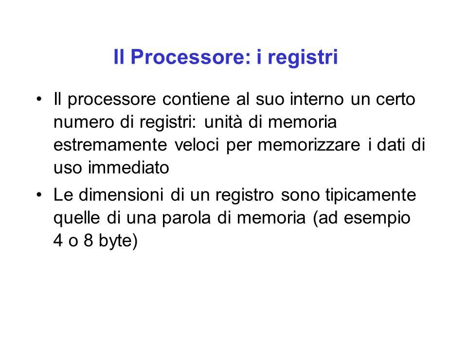 Il Processore: i registri Il processore contiene al suo interno un certo numero di registri: unità di memoria estremamente veloci per memorizzare i dati di uso immediato Le dimensioni di un registro sono tipicamente quelle di una parola di memoria (ad esempio 4 o 8 byte)