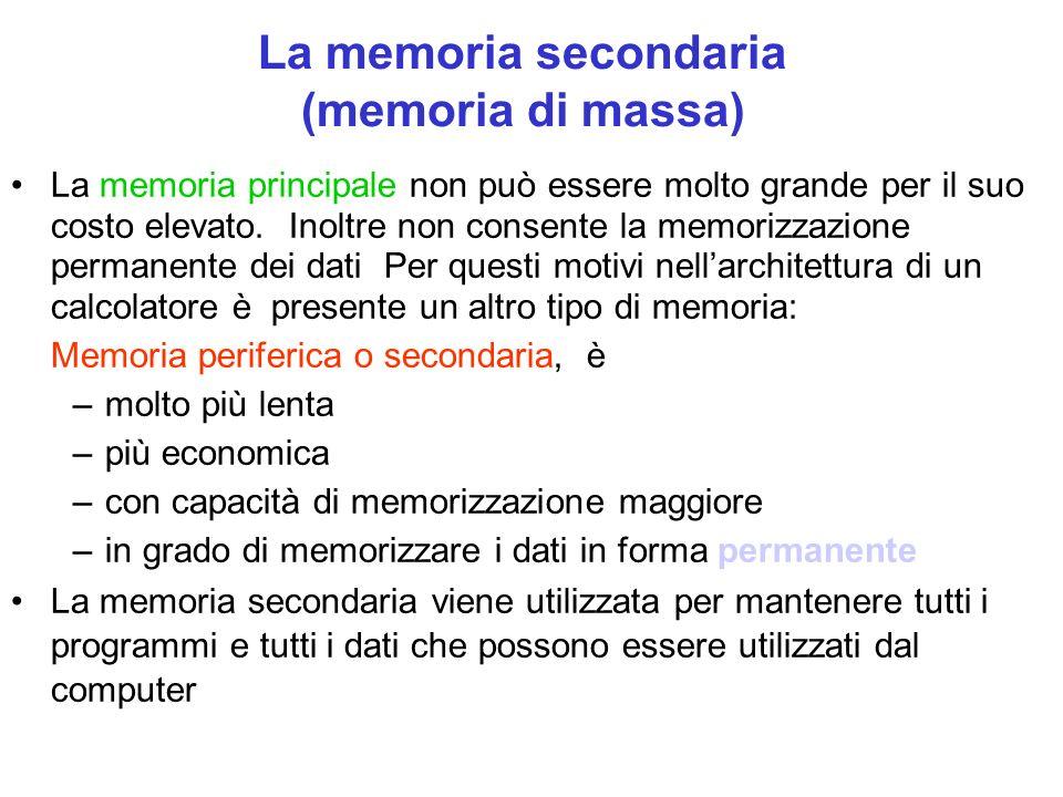 La memoria secondaria (memoria di massa) La memoria principale non può essere molto grande per il suo costo elevato.