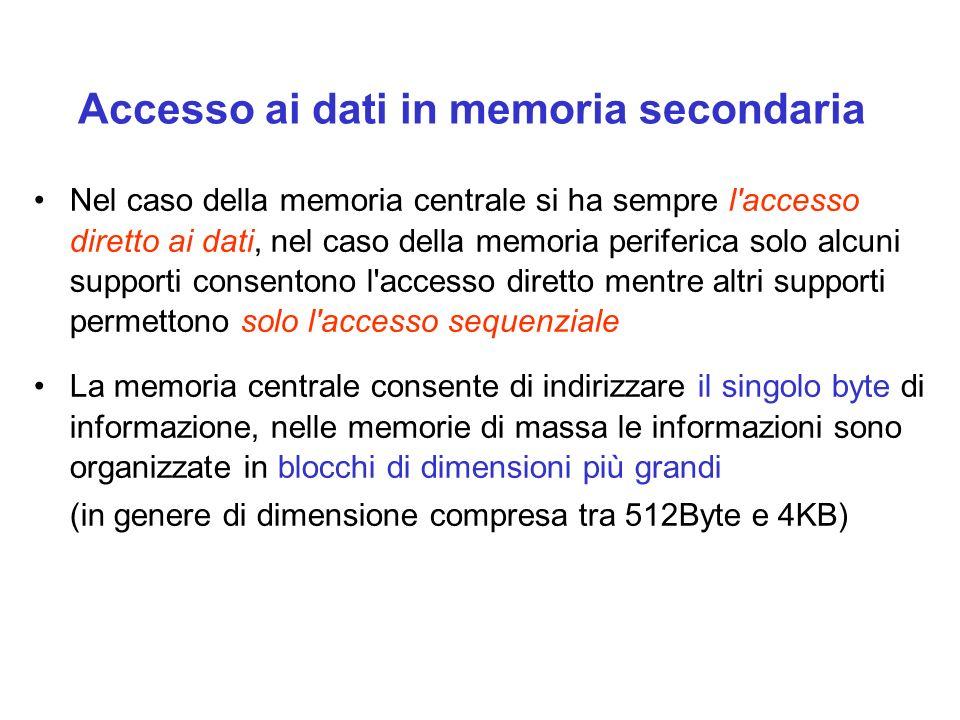 Nel caso della memoria centrale si ha sempre l accesso diretto ai dati, nel caso della memoria periferica solo alcuni supporti consentono l accesso diretto mentre altri supporti permettono solo l accesso sequenziale La memoria centrale consente di indirizzare il singolo byte di informazione, nelle memorie di massa le informazioni sono organizzate in blocchi di dimensioni più grandi (in genere di dimensione compresa tra 512Byte e 4KB) Accesso ai dati in memoria secondaria